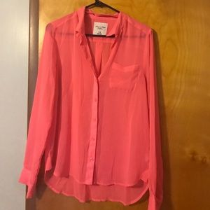 Pink sheer button up