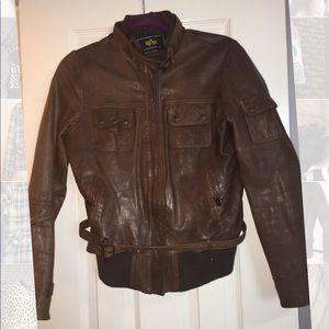 Alpha industries leather bomber jacket brown sz L