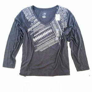 SONOMA V-Neck Long Sleeve Printed Grey Tee 4X NWT