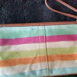 Coach multi colored stripes wristlet