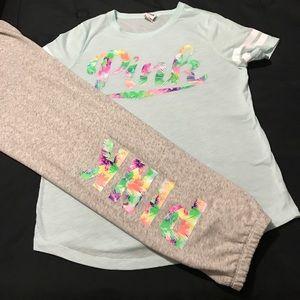 Victoria Secret Pink Tropical Pants Set