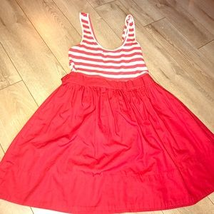 TOPSHOP Red and white striped sleeveless dress