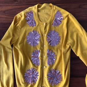 Mustard yellow pink sequins cardigan