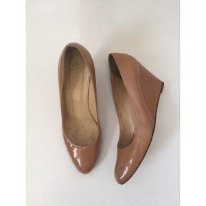 J.Crew Slyvia Patent Leather Round Toe Wedge Heels