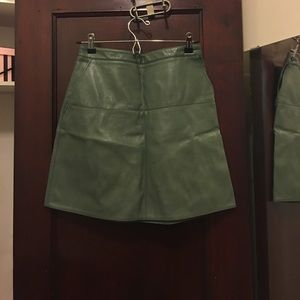 Zara faux leather green skirt