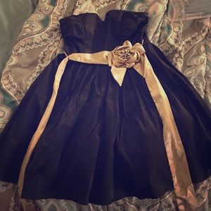 Black and gold shirt dress
