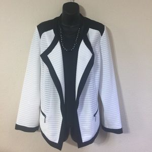 Chico's White and Black Jacket size 2