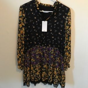 NWT MNG Floral Lace & Ruffle Dress