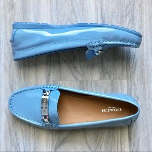 Coach Olive Patent blue loafers NWB