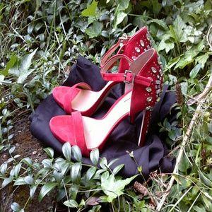 Red high heel rhinestone sandal