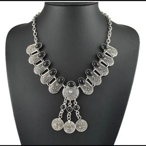 Boho coined tribal statement necklace
