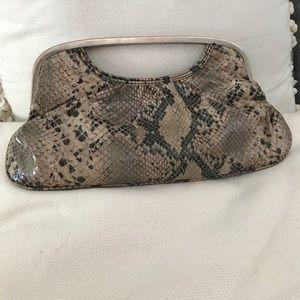 Express snakeskin clutch