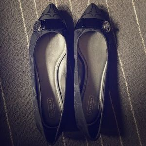 Brand new 7.5 black coach flat shoes pointed toe