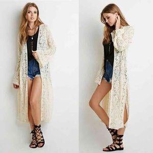 Lace longline cardigan