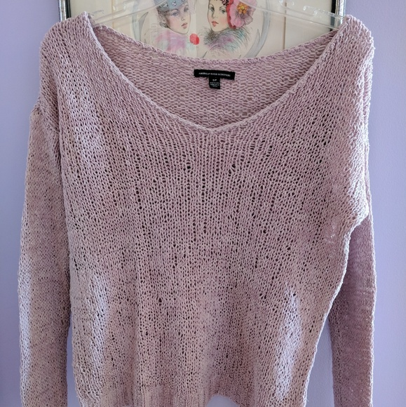 70% off American Eagle Outfitters Sweaters - Light Pink V-Neck ...