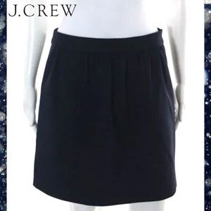 J CREW Classic Navy Blue Pleated Side Zipper Skirt