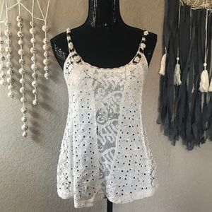 Free People lace crochet beaded tank