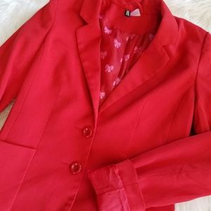 H&M Red Blazer with Heart Lining
