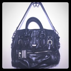 Unique Badgley Mischka Black Satchel Handbag