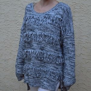 Oversized Gray Marled Comfy Sweater with Fringe