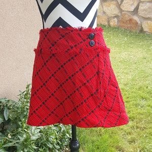 Red and Black knee Length Skirt