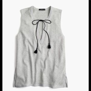 J. Crew tank top with embroidered trim top