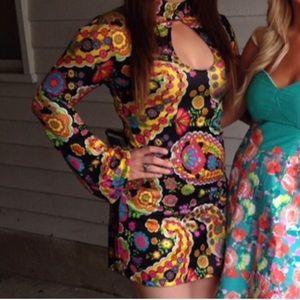 60's Psychedelic Mod Vintage Cutout Dress