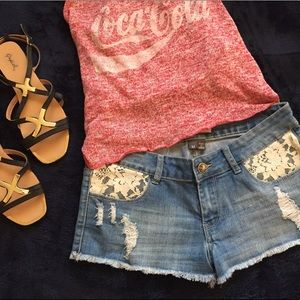 Distressed Denim Shorts with Lace size: M