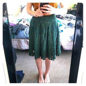 Moulinette Soeurs high-waist green eyelet skirt
