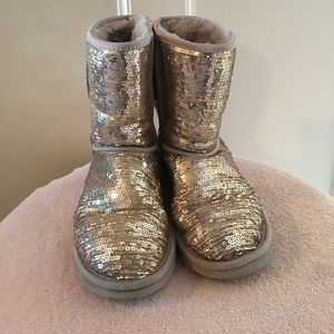 Ugg Silver Sparkly Boots