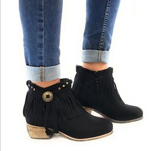 Western Harness Fringe Chic Bootie