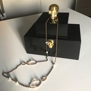 Alexis Bittar Rose Gold with black pearl necklace