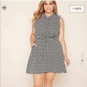 Forever 21+ Chevron Belted Shirt Dress 1X