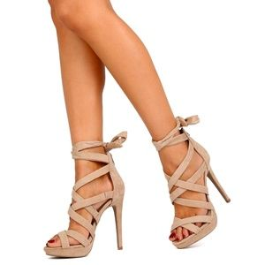 NATURAL color madden criss cross lace up heel