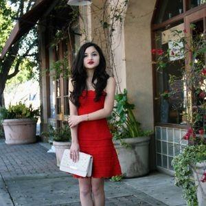 herve rose 🥀 red bandage scalloped dress