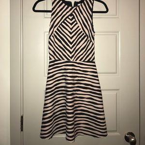 Black and cream striped skater dress