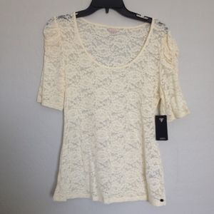 Off White Lace 3/4 Sleeve Top