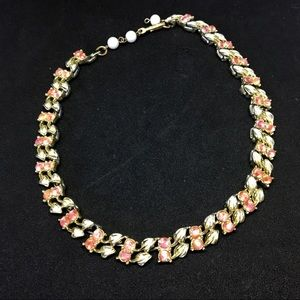 Coro White Leaves & Pink Stone Necklace