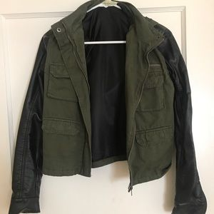 Urban Outfitters Army Jacket with Leather Sleeves