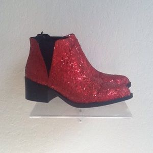 Red glitter ankle boots