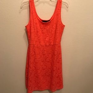 Coral lace overlay dress