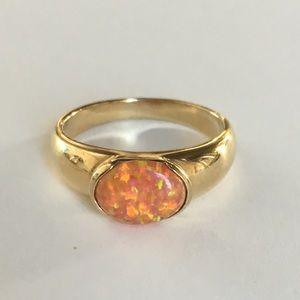 Fire Opal Gold and Silver Ring orange