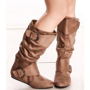 Tan Knee High Slouch Boot