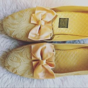 Vintage 60's Gold Brocade House Slippers