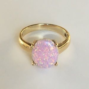 Pink Opal Ring gold and silver solitaire