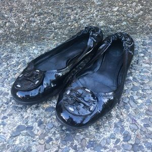 Tory Burch patent leather Reva flats. Size 8