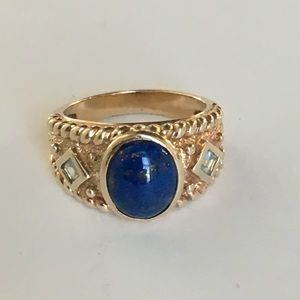 Lapis Blue Topaz Ring Gold and Sterling Silver