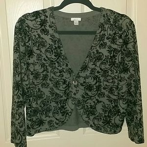 Apt 9 cropped sweater paisley floral one button L