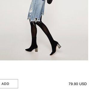 Zara Black Ankle Boots w Metallic heel - NWT
