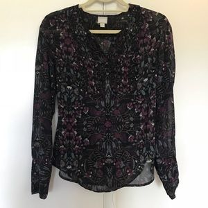 Converse sheer floral blouse